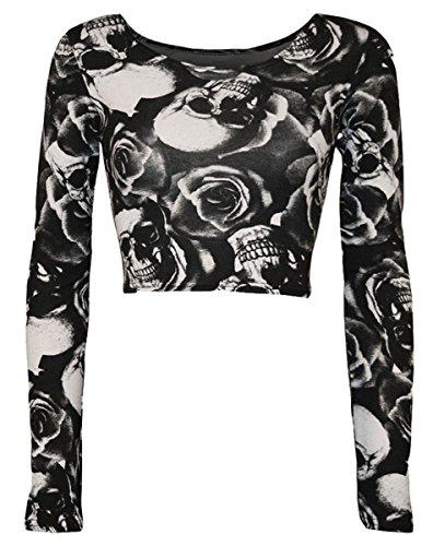 Thever Women Ladies Long Sleeve Halloween Skeleton Skull Rose Print Crop Top (M/L(10-12), (Skull Crop)
