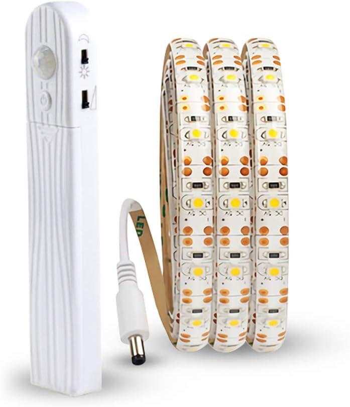 Tira de luces LED inalámbrica con sensor de movimiento, a pilas, para debajo de la cama, escaleras, armarios, dormitorio, luz de noche, para decoración de interiores, Blanco cálido., 6.6ft