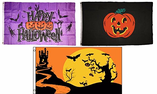 ALBATROS 3 ft x 5 ft Happy Halloween 3 Pack Flag Set #121 Combo Banner Grommets for Home and Parades, Official Party, All Weather Indoors Outdoors]()