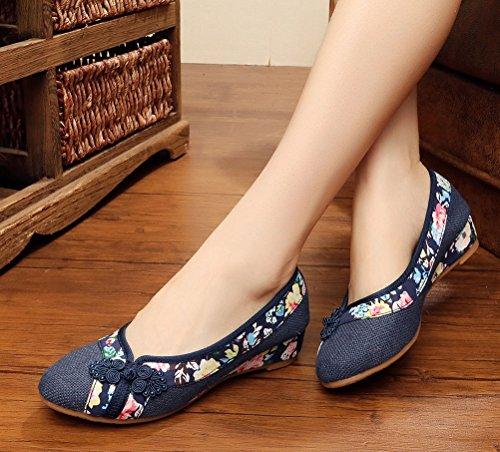 Soojun Traditionnel Chinois Bout Pointu Slip Sur Les Chaussures De Marche # 5 Marine