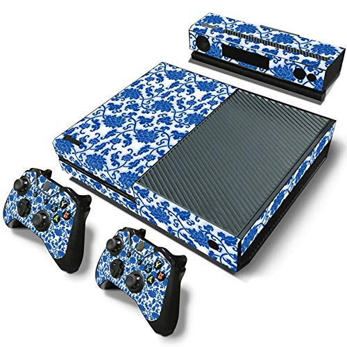 Sololife Blue and White Porcelain Vinyl Skin Sticker for Xbox One Console & Controllers (NOT for One S or - Console Porcelain