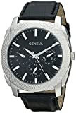 Geneva Men's 2411E-GEN Silver-Tone Analog Watch with Black Croc-Textured Faux-Leather Band