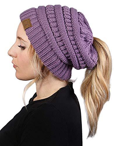 BT-6020a-79 Messy Bun Womens Winter Knit Hat Beanie Tail - Violet