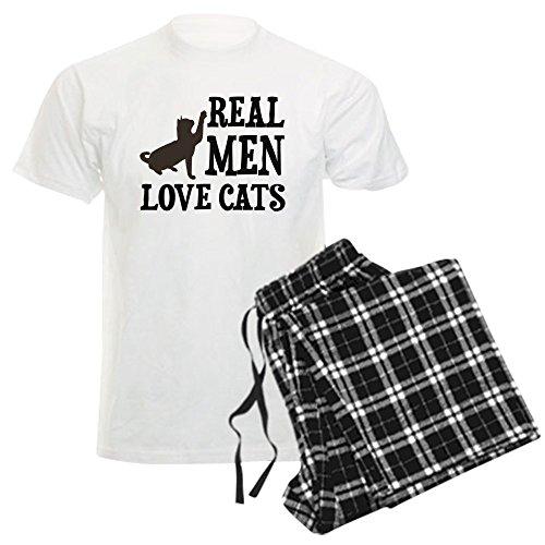 CafePress - Real Men Love Cats Pajamas - Unisex Novelty Cotton Pajama Set, Comfortable PJ Sleepwear