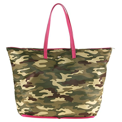 The Lovely Tote Co. Portable Polyester Shopper with Zipper Closure, Military Camo/Orchid Pink ()