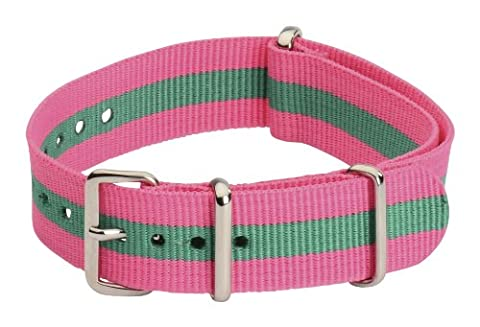 Clockwork Synergy Classic Nylon Nato watch straps bands (18mm, Pink / Green) (Pink Tag Watch)