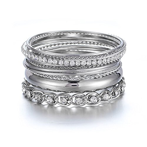 Ensoul Twisted Multiple Metal Bracelets & Bangles Set for Women 12Pcs/Set W/Clear Rhinestones ()
