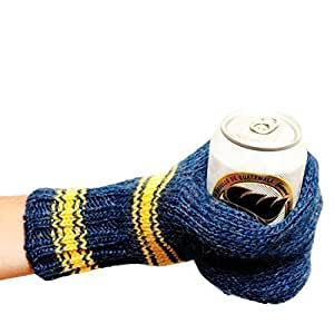 Suzy Kuzy Beer Mitt (OFFICIAL) - Knit Beer Mitt :: Blue / Yellow