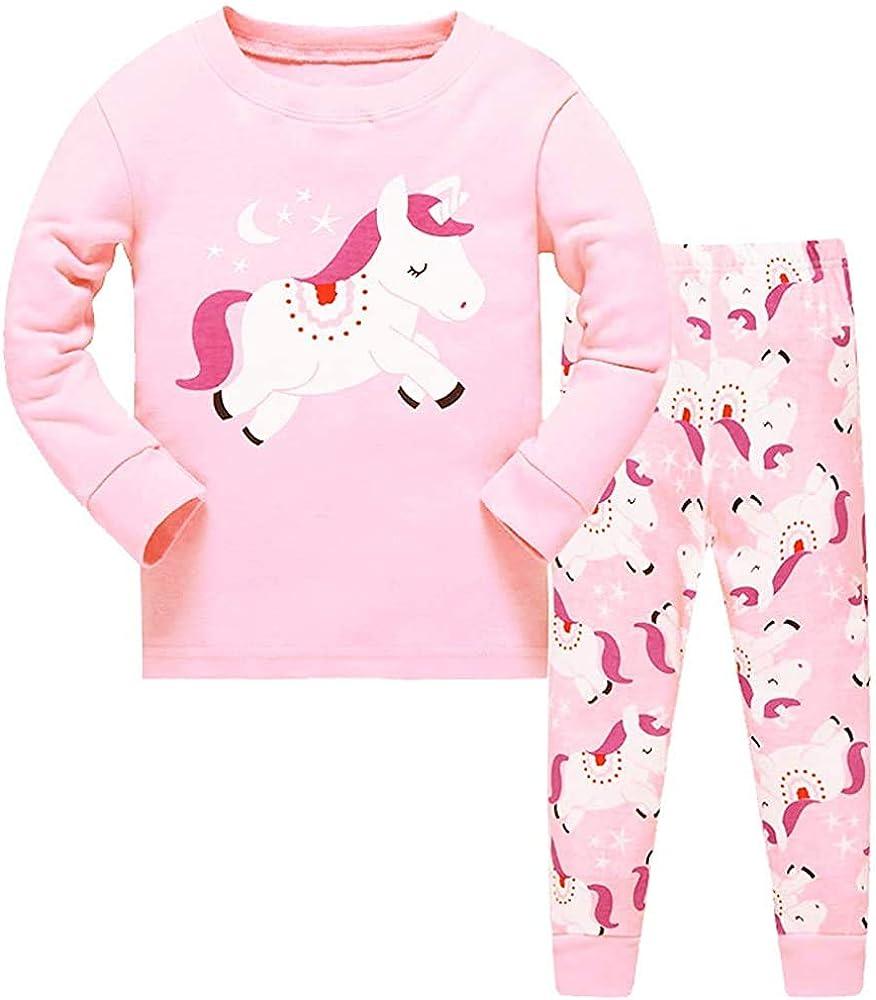 HommyFine Pijamas de Manga Larga para niñas, Niña Pijamas Conjunto Algodón Dos Piezas, Pijamas para niñas Unicornio Ajuste Ceñido Talla 3 a 7 años
