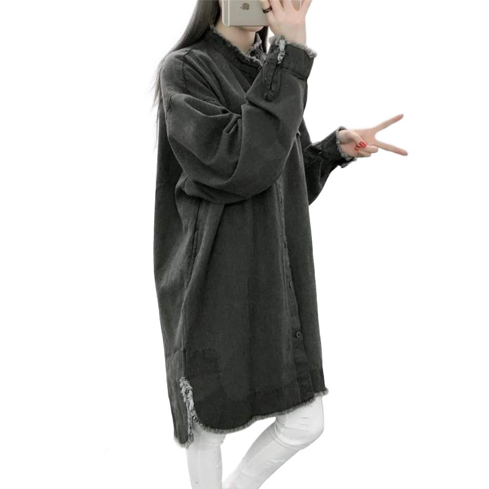 CrazyTiger Womens Classic Long Sleeve Lapel Neck Plus Size Baggy Midi Denim Coat Jacket Overcoat