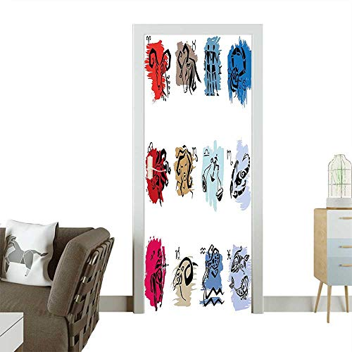 Door Sticker WallpaperTwelve Symbol of The Signs with Brushstrokes Effect Birth Calendar Horoscope Decor Fashion and Various patternW35.4 x H78.7 INCH