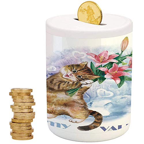 Valentines Day Decor,Piggy Bank Coin Bank Money Bank,Printed Ceramic Coin Bank Money Box for Cash Saving,Be My Valentine Little Cute Baby Kitten with Garden Flowers Print ()