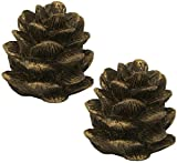 Urbanest Set of 2 Pinecone Lamp Finial, 1 3/4-inch Tall, Bronze with Gold