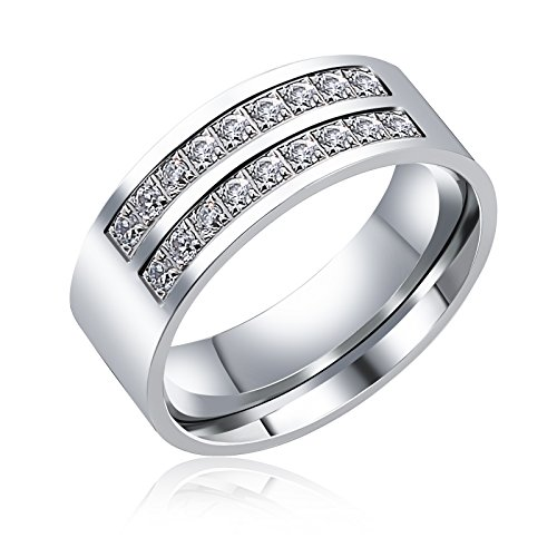 Aienid Rings for Men Wedding Engagement Band Wedding Bands for Women Eternity Promise Engagement Ring With Cz Size 9 by Aienid (Image #2)