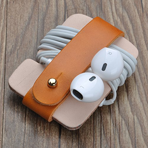 Handcrafted genuine leather storage belt earphone headphone line holder cable cord ties organizers