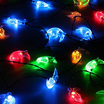 Finether 21.3 ft Solar Powered 30 LED Clear Moon Face String Lights for Indoor Outdoor Christmas Party Holiday Festival Wedding Commercial Use, Multi Color