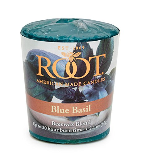 Root Candles 20-Hour Scented Beeswax Blend Votive Candles, 18-Count, Blue Basil from Root Candles