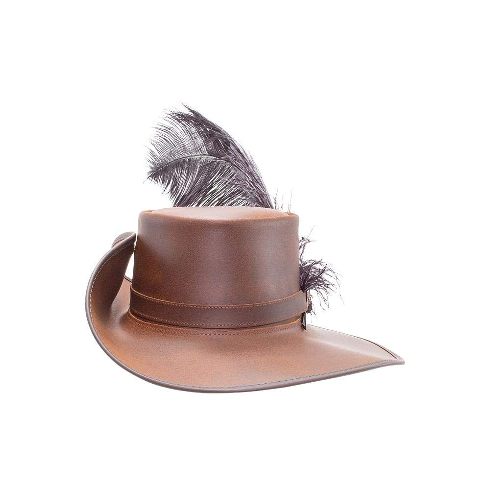 Men's Cavalier-Musketeer Brown Leather Feathered Hat - DeluxeAdultCostumes.com