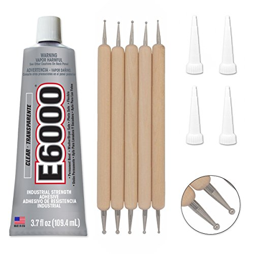 (Bundle - E6000 3.7 Ounce (109.4mL) Tube Industrial Strength Adhesive for Crafting, 4 Snip Tip Applicator Tips and Pixiss Art Dotting Stylus Pens 5 pcs Set)