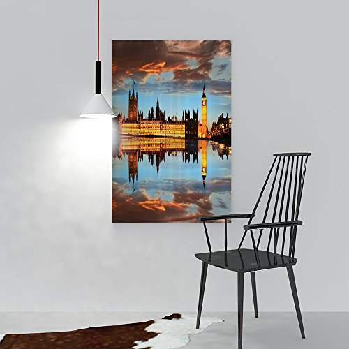Philip C. Williams Art Wall Decor Westminster Palace in Cloudy Night Reflected to Thames River Perfect Wall Decoration W24 x H36 ()