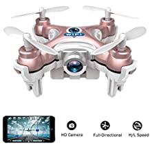 wifi controlled mini quadcopter, Volarvin® - super micro nano quadcopter rc drone with camera 2.4g 4 channel 3d gyro 6 axis with 360 stunt spin flips (only 6cm x 6cm x 2cm) in rose gold