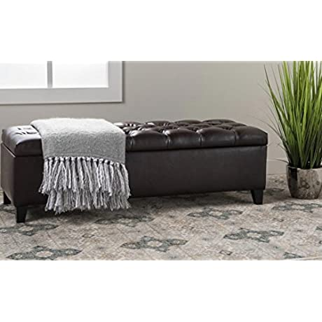 Faux Leather Birch Wood Tufted Storage Ottoman Bench