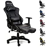 HULLR Gaming Racing Computer Office Chair With Foot Rest, Executive High Back Ergonomic Reclining Design With Detachable Lumbar Backrest & Headrest (PC PS4 XBOX Laptop) (Black/Black)