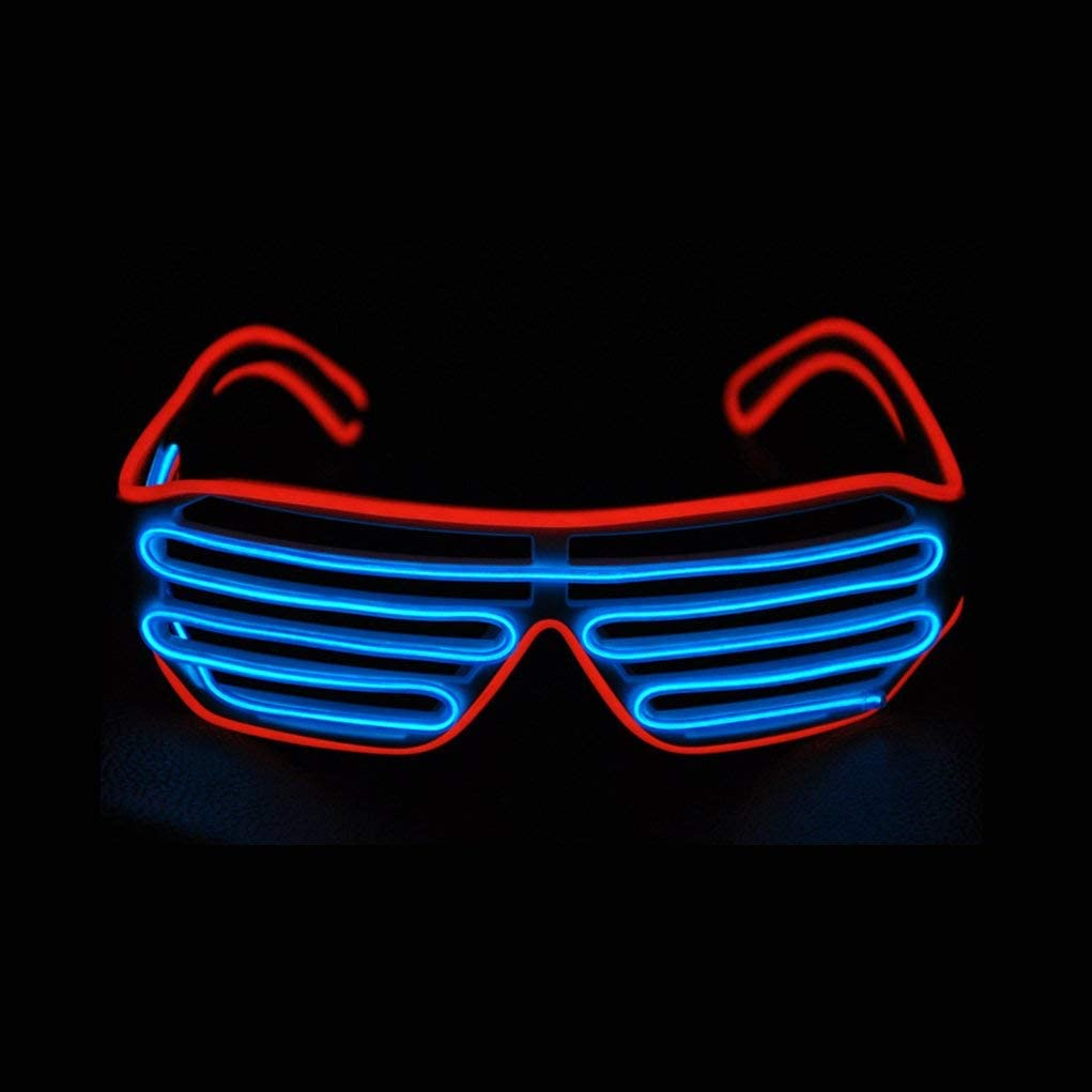 KingCorey Glow Shutter Neon Rave Glasses El Wire Flashing LED Sunglasses Light Up DJ Costumes for Party Blue + Pink 80s EDM