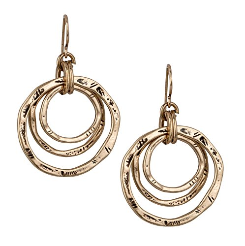 3 Circle Boho Antiqued Gold Earrings for Women | SPUNKYsoul Collection