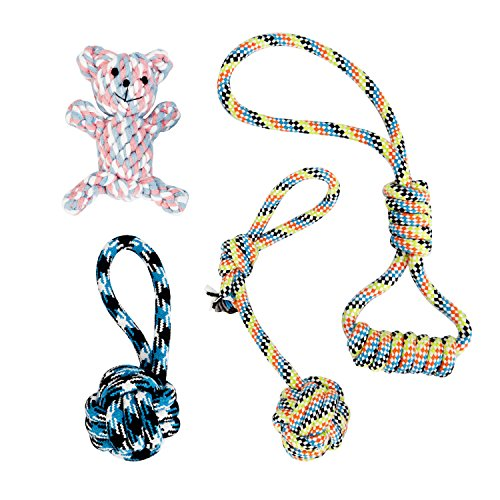 Dog Chew Toys Ropes, Rockjame 4-pack Dog Toys Cotton Rope Chew Toys Sets Puppy Teething Toys for Small Medium Dog Doggie Teddy Samoyed
