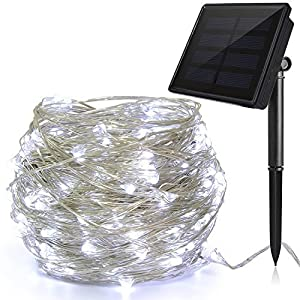 Solar String White Lights, Ankway 200 LED 3-Strand Copper Wire Fairy Lights 8 Modes 72 ft Solar Powered String Lights Waterproof IP65 LED Christmas Lights Outdoor Patio Garden Indoor Bedroom (White)