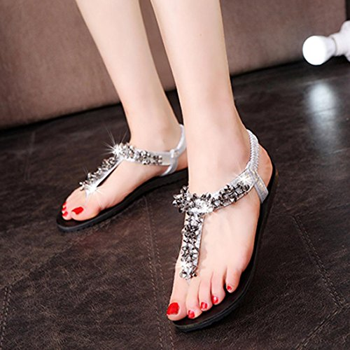Silver Sandals Outdoor Peep Leisure Shoes Bead Flat TM Lady Shoes Bohemia Women DEESEE Toe qRTZ4On
