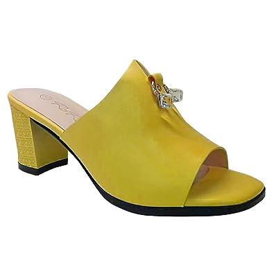 74eeb97ef Annalise Ladies Block Heel Open Toe Mule Gold Embellishment Sandal (5 UK,  Yellow)