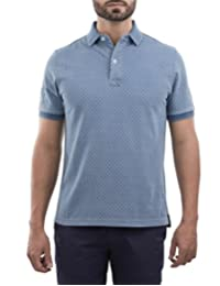 Playera Polo Manga Corta Regular Fit Azul Grisaceo