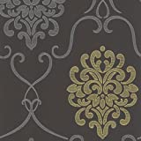 Decorline DL30440 Modern Damask Wallpaper, Grey