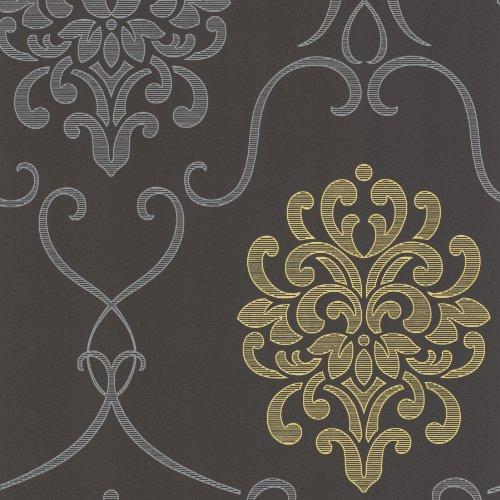 (Decorline DL30440 Suzette Grey Modern Damask Wallpaper Wallpaper)