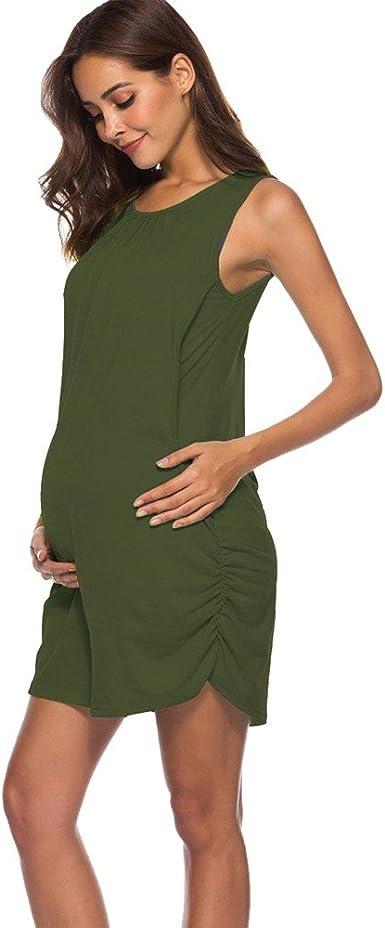POPNINGKS Women Casual Pregnant Dress Short Sleeve Pregnant Nursing Clothes Maternity Dress Solid Print Dresses