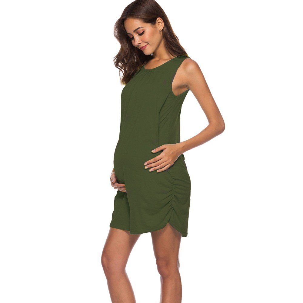 dd757107ff24b Amazon.com: Maternity Summer Dress, Mom Pregnant Nursing Vest Women  Sleeveless Side Ruched Dress Clothes: Clothing