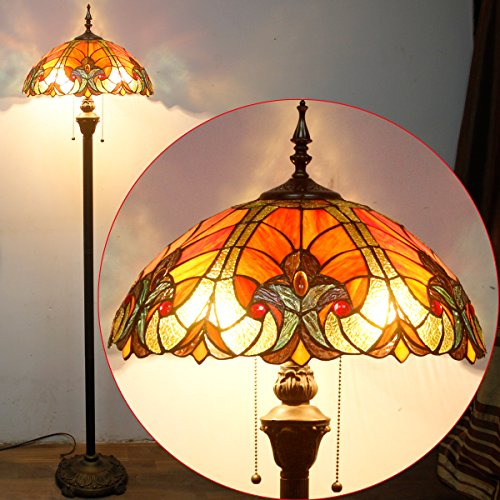 Tiffany Style Floor Standing Lamp 64 Inch Tall Red Liaison Stained Glass Shade 2 Light Antique Base for Bedroom Living Room Reading Lighting Coffee Table Set S160R WERFACTORY by WERFACTORY (Image #4)