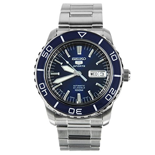 Seiko 5 Sports SNZH53J1 Japan Men's Stainless Steel Blue Dial Automatic Watch - Mens Automatic Blue Dial
