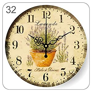 YUNOLL Relojes De Pared Reloj País Retro Reloj De Pared Mediterráneo Pastoral Salón Dormitorio Pared Reloj Decoración Simple Mute Reloj De Pared Flor 16 ...