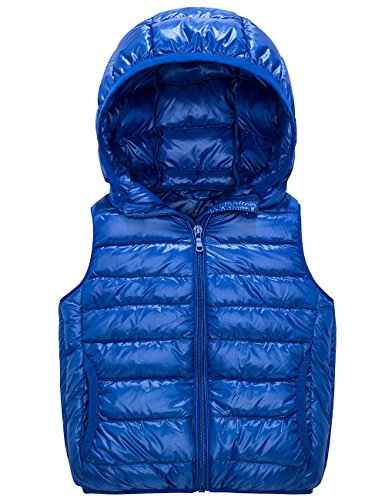 Spring&Gege Kids Lightweight Quilted Packable Hooded Puffer Down Vest for Boys and Girls Blue Size 5-6 Years by Spring&Gege