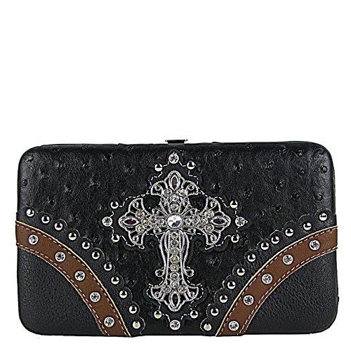 black-ostrich-studded-rhinestone-maltese-cross-flat-checkbook-clutch-wallet