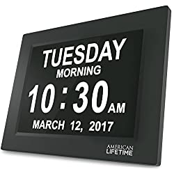 [Newest Version] Day Clock - Extra Large Impaired Vision Digital Clock with Battery Backup & 5 Alarm Options (Black)