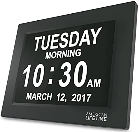 [Newest Version] Day Clock - Extra Large Impaired Vision Digital Clock with Battery Backup & 5 Alarm Options (Kitchen Digital Clock)