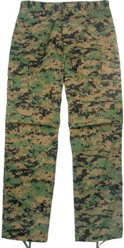 Camouflage Military BDU Pants, Army Cargo Fatigues (Digital Woodland Camouflage, Size Medium)