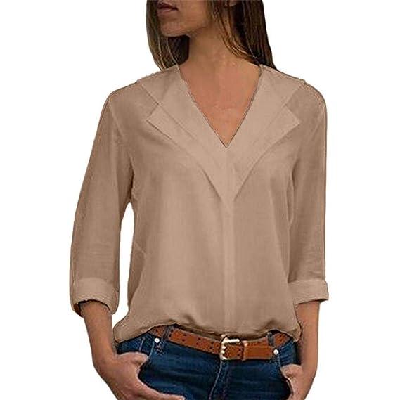 Color sólido Manga Larga Gasa Top,Belasdla Blusa Gasa para Dama Camisas de Mujer Blusones