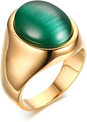 Vnox Mens Stainless Steel Green Cat S Eye Stone Ring For Wedding Band Engagement Promise Gold Plated Amazon Com