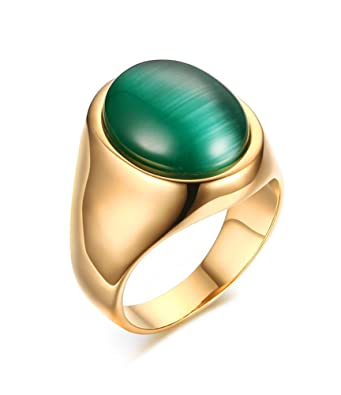 Mens Stainless Steel Green Cat S Eye Stone Ring For Wedding Band