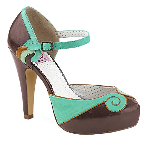 Faux Pin Up Bettie Couture Leather Teal 17 brown TpHSq8w